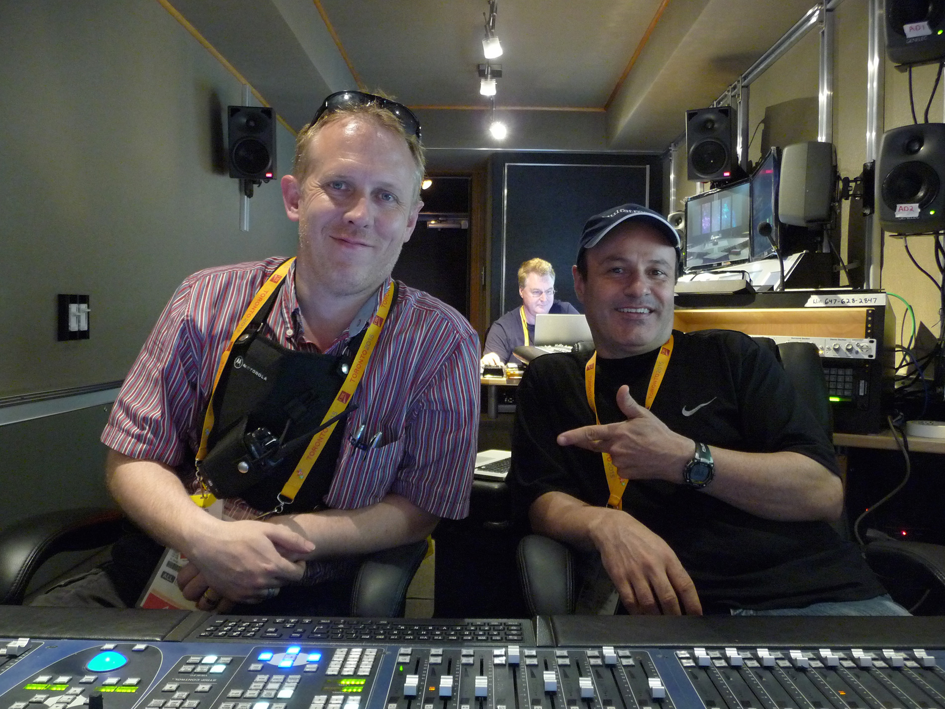 Opening Ceremony, PanAm 2015.<br> Broadcast Audio Services mobile truck, Michael Nunan and Anthony Montano (the pair shared mixing duties for the show)<br> In addition to Ovation and 2 x Pyramix systems, approx 1/3rd of our assets for the show were inbound from the field via Ravenna.