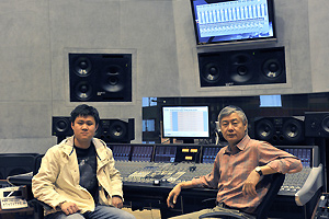 Recording Engineer Feng Hanying (left) and Li Dakang in the control room at the Beijing National Theatre with the new DXD-capable Pyramix system.